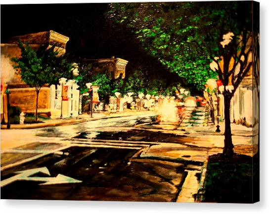 Through Some Place A Rainy Night Canvas Print by Thomas Akers