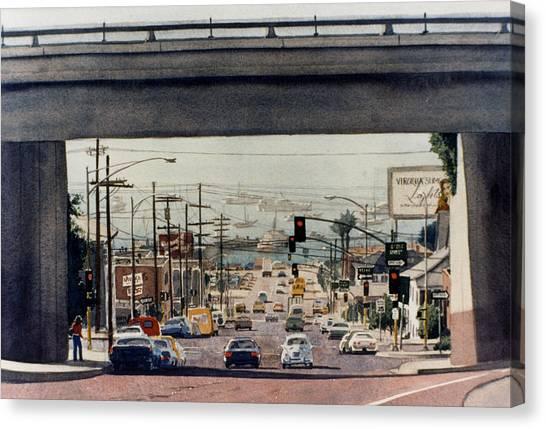 Highways Canvas Print - Through The Bridge On Hawthorn by Mary Helmreich