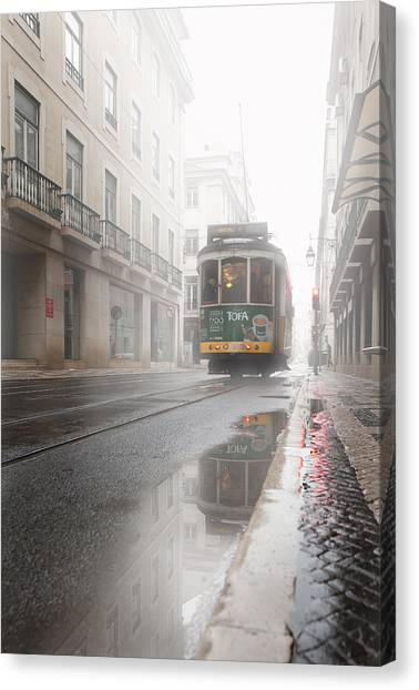 Light Rail Canvas Print - Through The Fog by Jorge Maia