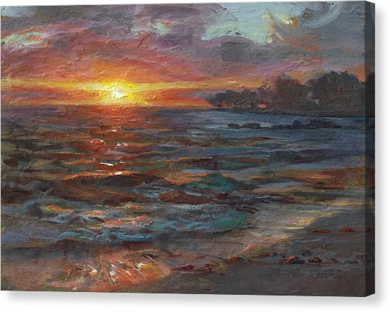 Through The Vog - Hawaii Beach Sunset Canvas Print