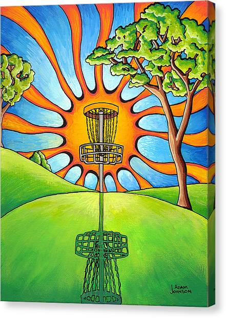 Disc Golf Canvas Print - Throw Into The Light by Adam Johnson