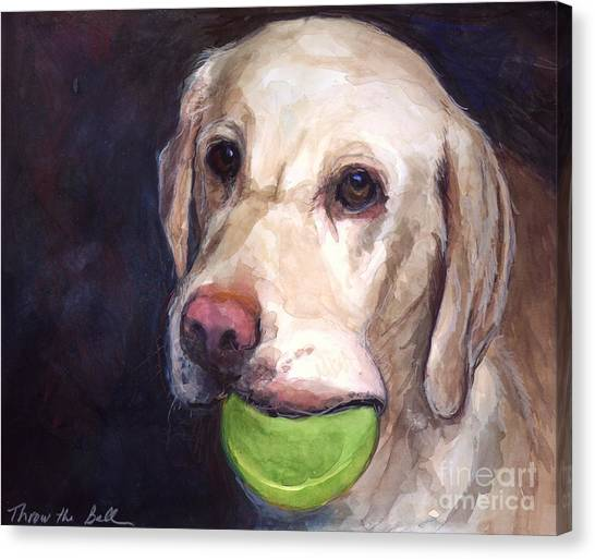 Yellow Lab Canvas Print - Throw The Ball by Molly Poole