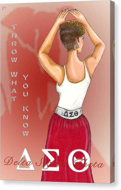 Delta Sigma Theta Canvas Print - Throw What You Know Series - Delta Sigma Theta by BFly Designs