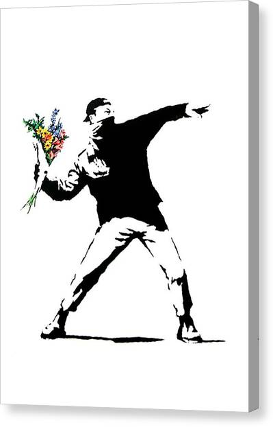 Palestinian Canvas Print - Throwing Love by Munir Alawi