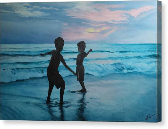 Throwing Sand Canvas Print