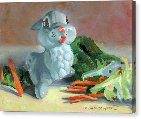 Lettuce Canvas Print - Thumper's Bounty by Marguerite Chadwick-Juner