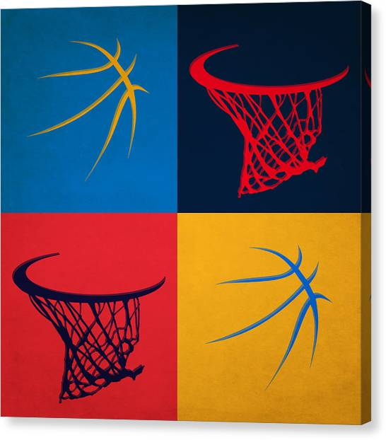 Oklahoma City Thunder Canvas Print - Thunder Ball And Hoop by Joe Hamilton