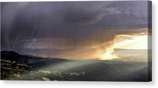 Altitude Canvas Print - Thunder Shower And Lightning Over Teton Valley by Leland D Howard