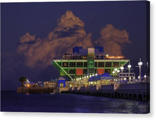 Thunder Bay Canvas Print - Thunder Storm At The Pier by Marvin Spates