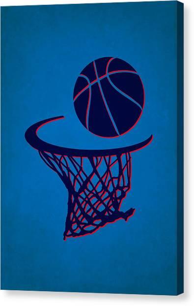 Oklahoma City Thunder Canvas Print - Thunder Team Hoop2 by Joe Hamilton