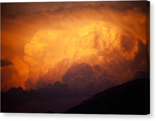 Canvas Print featuring the photograph Thunderhead At Sunset by Brad Brizek