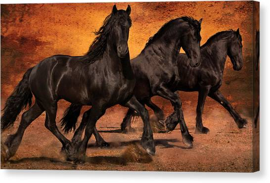 Black Stallion Canvas Print - Thundering Hooves by Jean Hildebrant
