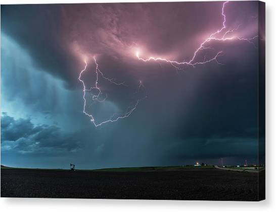 Hailstorms Canvas Print - Thunderstorm At Dusk by Roger Hill
