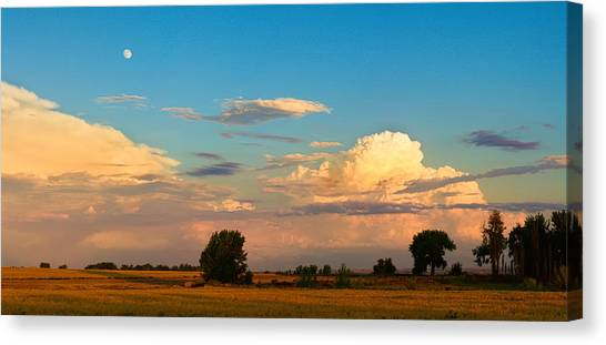 Thunderstorm Front Blue Sky And Moon Panorama Canvas Print by James BO  Insogna
