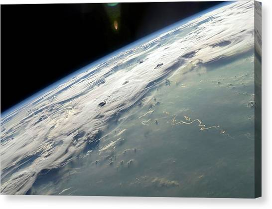 Thunderclouds Canvas Print - Thunderstorms Over Brazil by Nasa/science Photo Library
