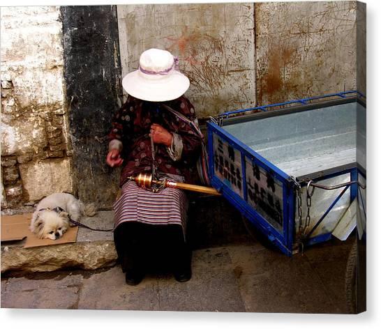 Tibet - Lhasa - Woman And Companion Canvas Print by Jacqueline M Lewis