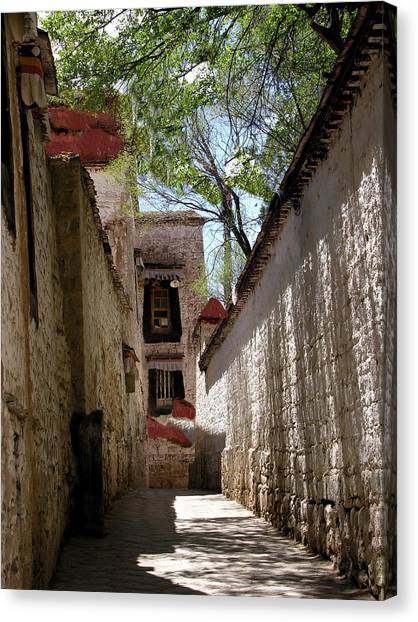 Tibet - Sera Monastery Canvas Print by Jacqueline M Lewis
