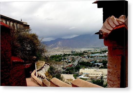 Tibet   Lhasa - Potala Palace - View Of The Dalai Lama Canvas Print by Jacqueline M Lewis