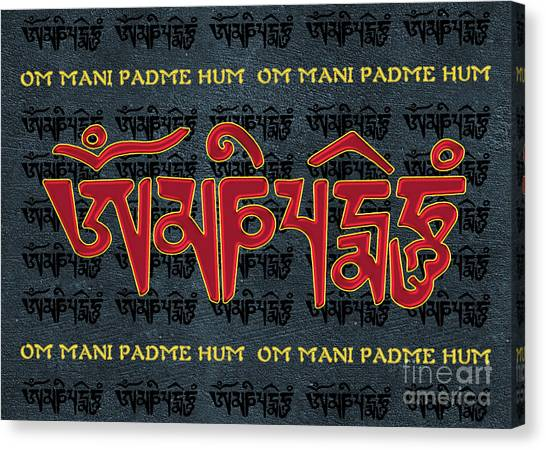 Tibetan Mantra Om Mani Padme Hum Canvas Print