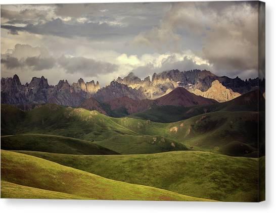 Mountain Canvas Print - Tibetan Plateau by James Yu