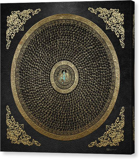 Tibetan Thangka - Green Tara Goddess Mandala With Mantra In Gold On Black Canvas Print
