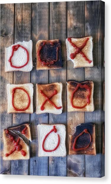 Ketchup Canvas Print - Tic Tac Toe by Joana Kruse