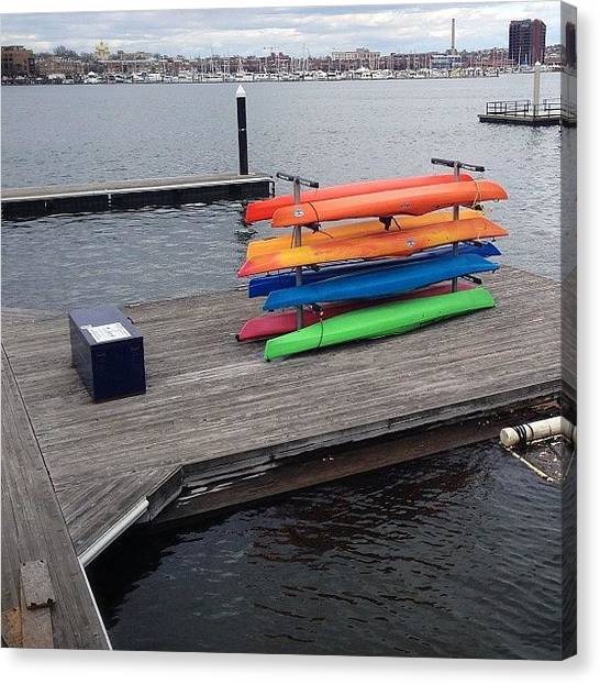 Kayaks Canvas Print - Tide Point Harbor Connector Water Taxi by Melaney Wolf