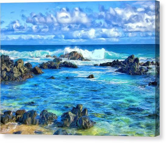 Mauna Loa Canvas Print - Tide Pool Near Hana Maui by Dominic Piperata