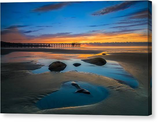 Boulder Canvas Print - Tide Pool Reflections At Scripps Pier by Larry Marshall