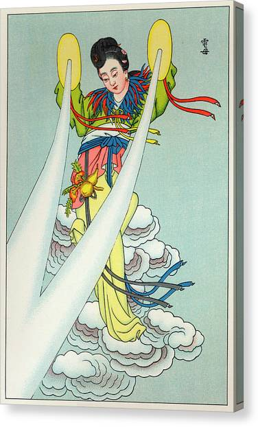 Tien-mou The Mother Of Lightning Canvas Print by Mary Evans Picture Library