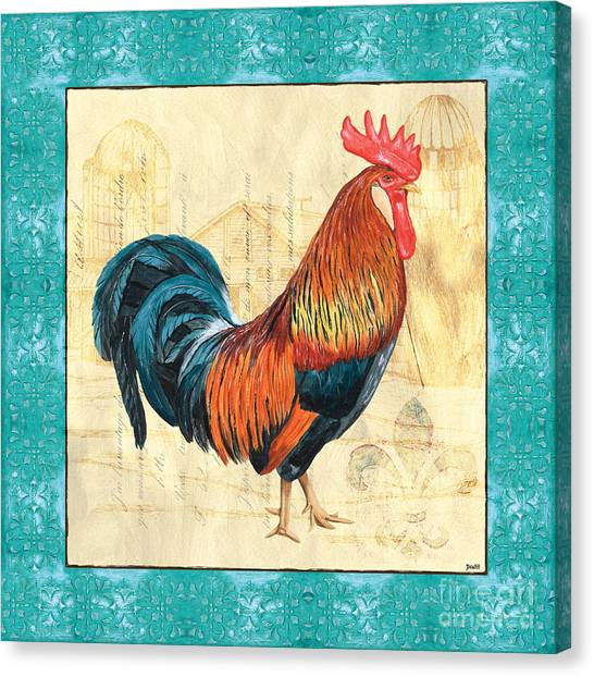 Chicken Canvas Print - Tiffany Rooster 1 by Debbie DeWitt