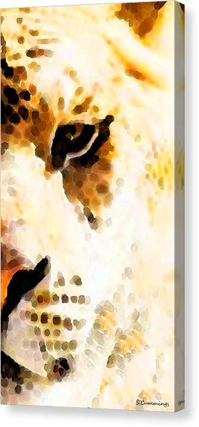 Detroit Lions Canvas Print - Tiger Art - Pride by Sharon Cummings