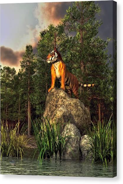 Detroit Tigers Canvas Print - Tiger By The Lake by Daniel Eskridge