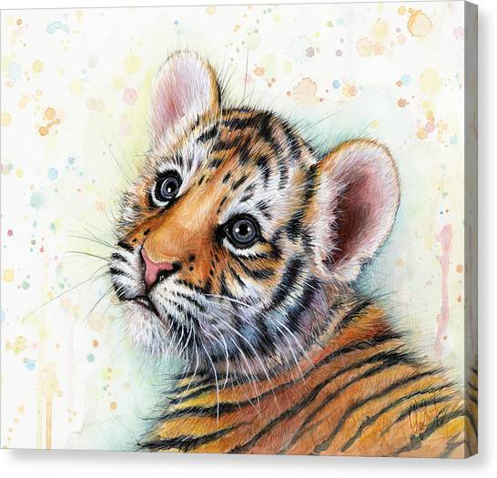 Stripes Canvas Print - Tiger Cub Watercolor Art by Olga Shvartsur