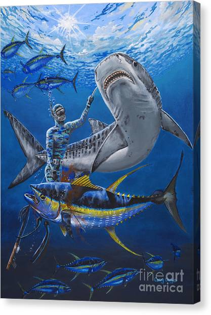 Tiger Sharks Canvas Print - Tiger Encounter by Carey Chen