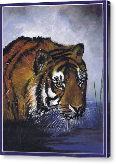 Tiger In The Water Canvas Print