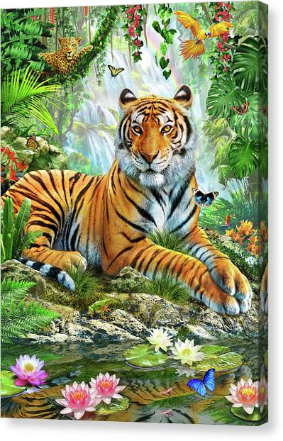 Tropical Rainforests Canvas Print - Tiger On A Rock by Adrian Chesterman