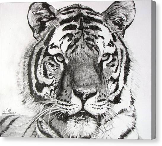 Tiger On Piece Of Paper Canvas Print
