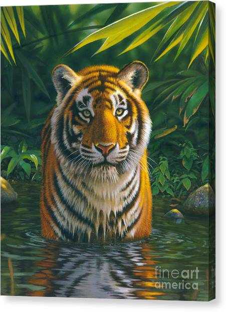 Portrait Canvas Print - Tiger Pool by MGL Studio - Chris Hiett