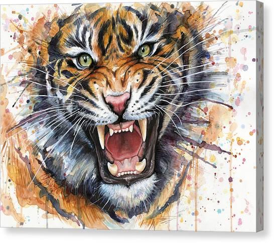 Zoo Canvas Print - Tiger Watercolor Portrait by Olga Shvartsur