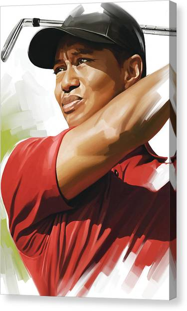 Tiger Woods Canvas Print - Tiger Woods Artwork by Sheraz A
