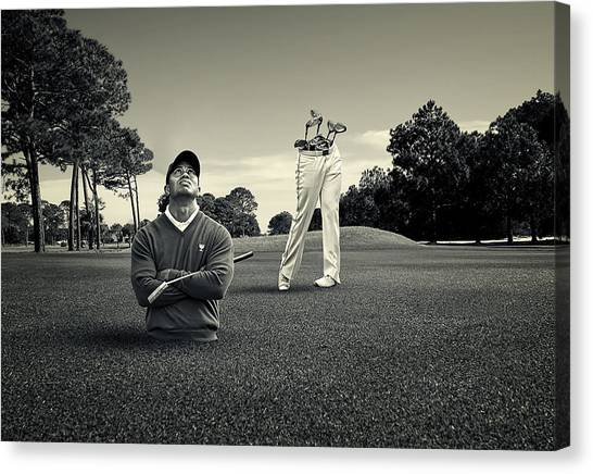 Golfers Canvas Print - Tiger Woods by Fitim Bushati