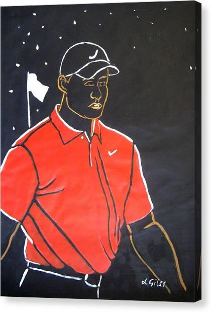 Tiger Woods Hazeltine 2009 Canvas Print by Lesley Giles