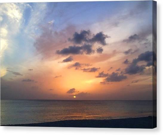 Tiki Beach Caribbean Sunset Canvas Print