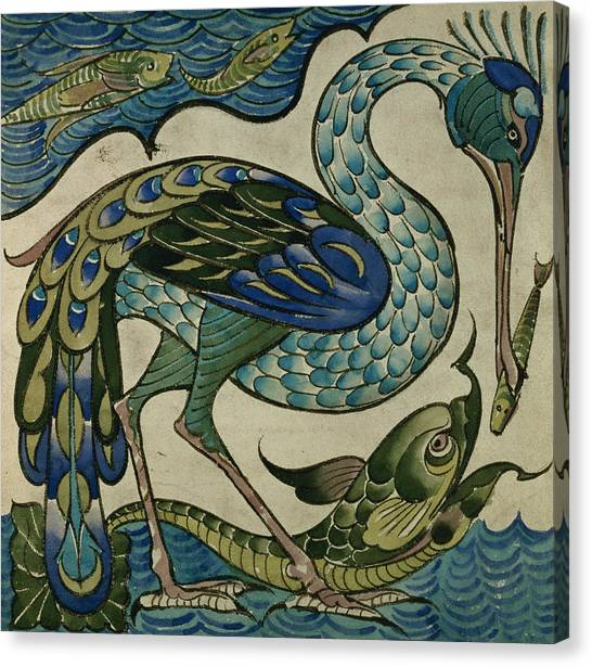 Cranes Canvas Print - Tile Design Of Heron And Fish by Walter Crane