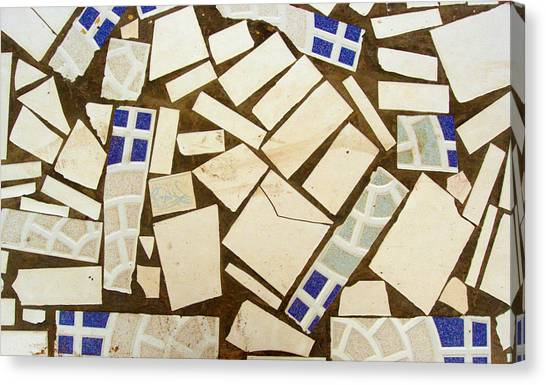 Tile Pieces In Brown Grout Canvas Print