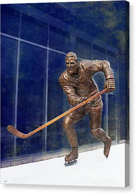 Buffalo Sabres Canvas Print - Tim Horton Bronze Statue by Barbara McMahon