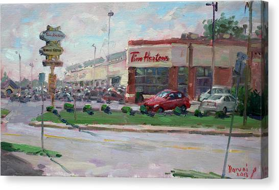 Niagara Falls Canvas Print - Tim Hortons By Niagara Falls Blvd Where I Have My Coffee by Ylli Haruni