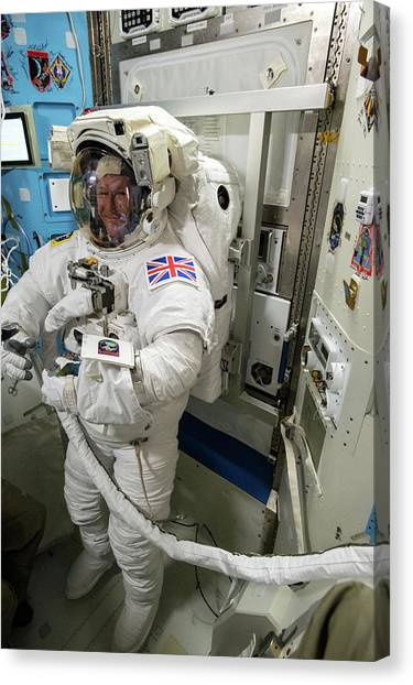 Emus Canvas Print - Tim Peake Preparing For Spacewalk by Nasa