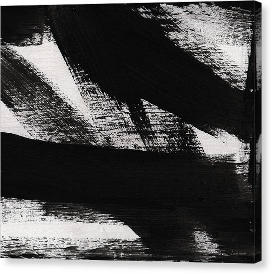 Brush Canvas Print - Timber 2- Horizontal Abstract Black And White Painting by Linda Woods